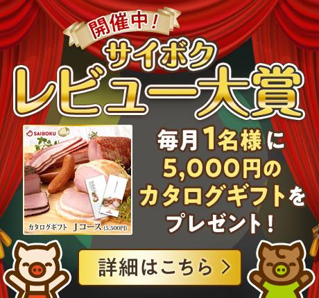 毎月開催レビュー大賞 毎月1名様に5000円カタログギフトプレゼント